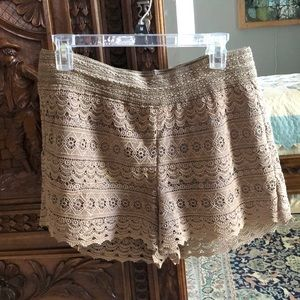 Beige/tan high waisted lace shorts w/ soft lining